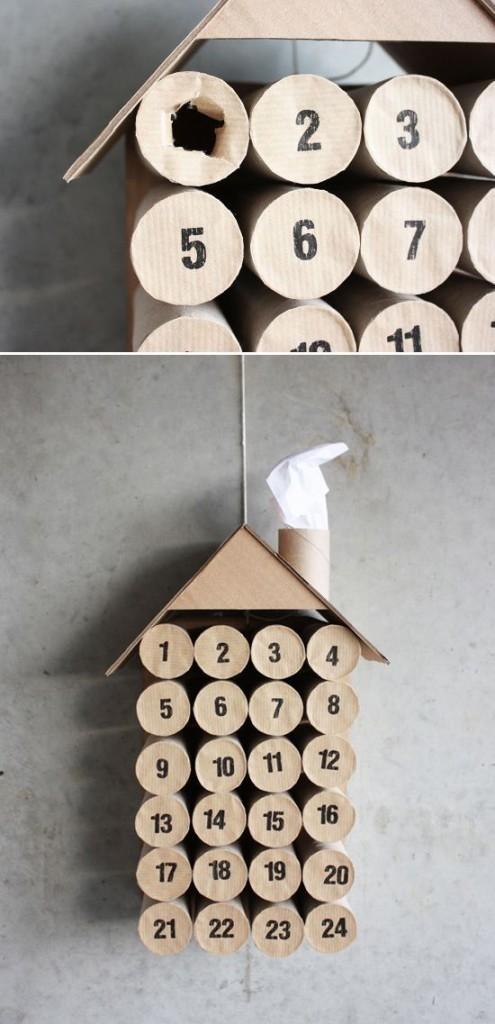 Adventní kalendáž z roliček toaletního papíru