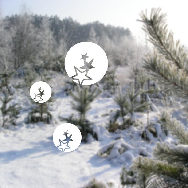 Vánoční samolepky na okno Koule s hvězdami