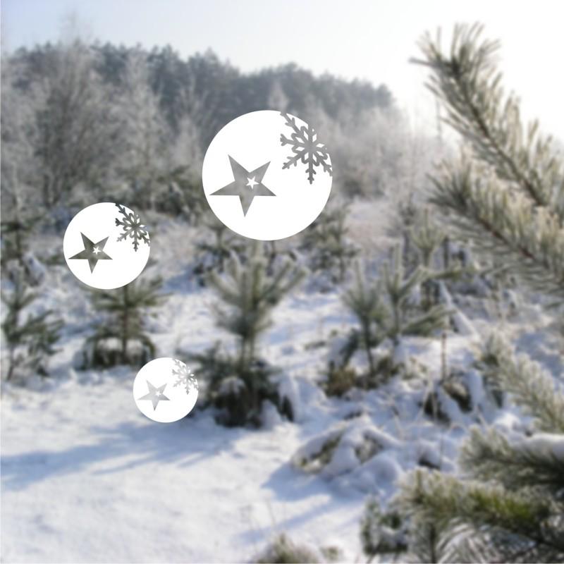 Samolepky na okno koule s vločkou a hvězdou