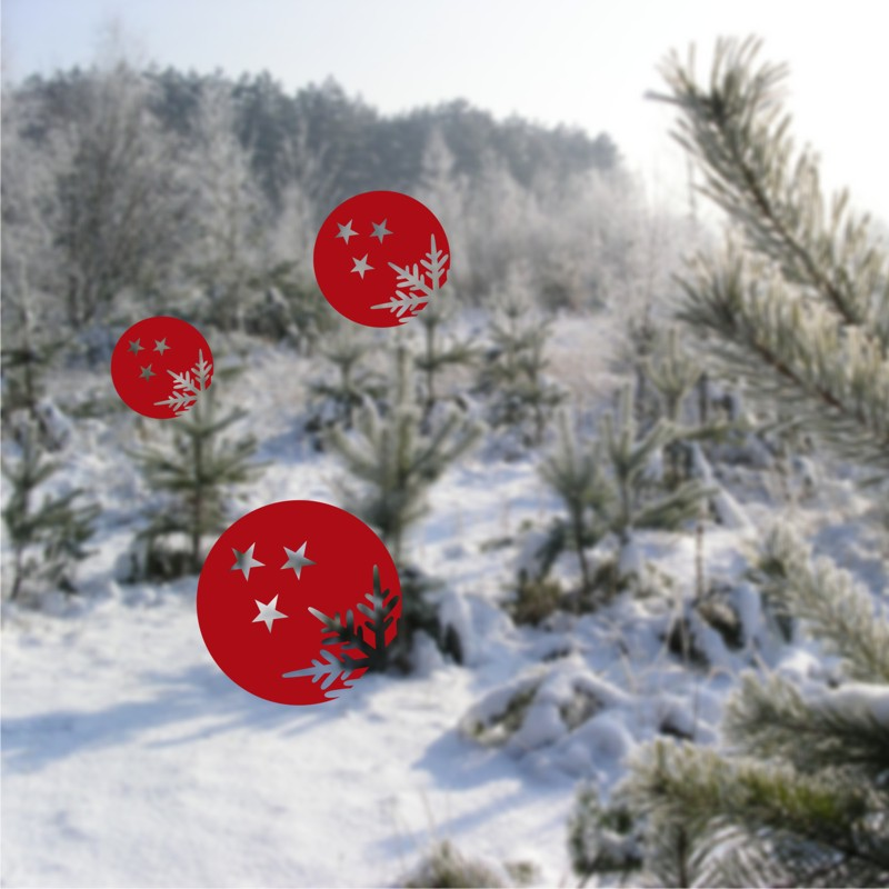 Vánoční samolepky na okno Koule s vločkou a hvězdami