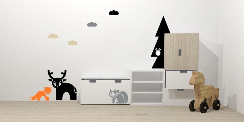 Skandinávský dětský pokoj na téma les