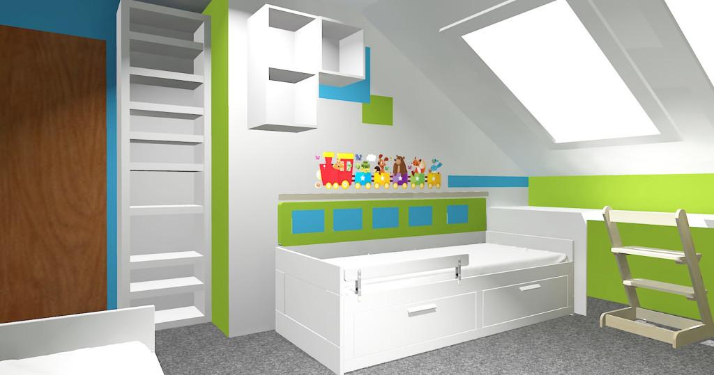 3D návrh pokojíku - Knihovna a místo pro kluka