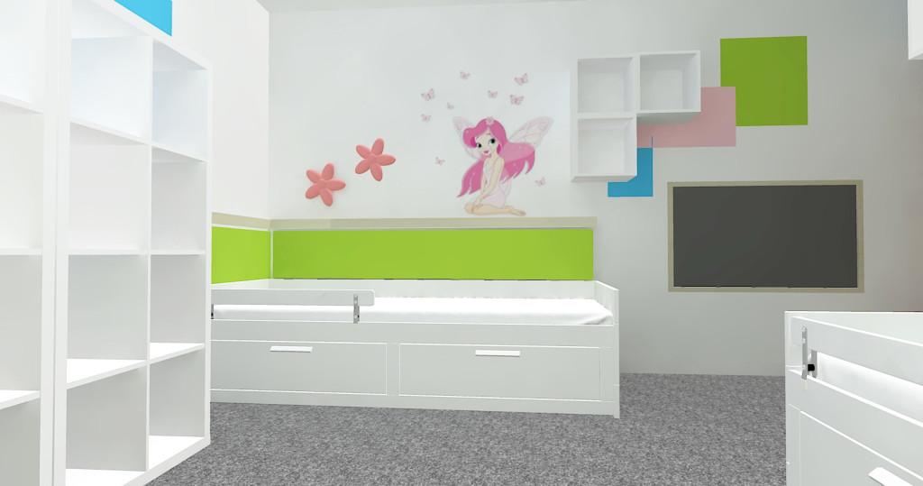 3D návrh dětského pokoje - místo pro holčičku