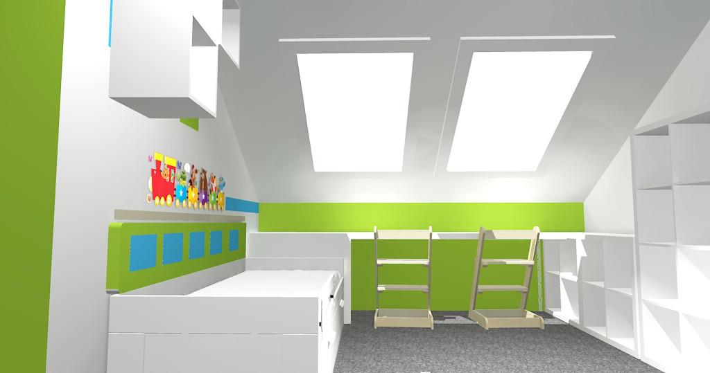 3D návrh pokojíku - stůl