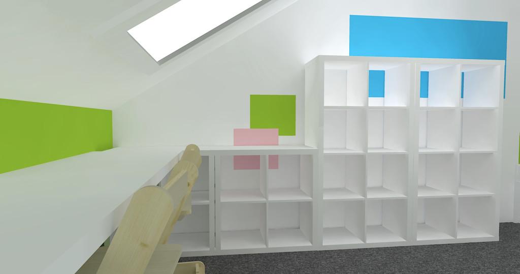 3D návrh dětského pokoje - systém Kallax