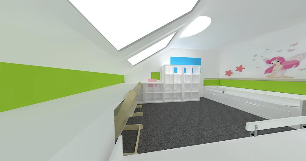 3D návrh pokojíku - pohled na celý pokoj 2