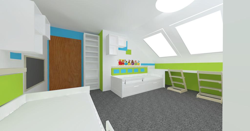 3d návrh pokojíku - pohled na celý pokoj 1