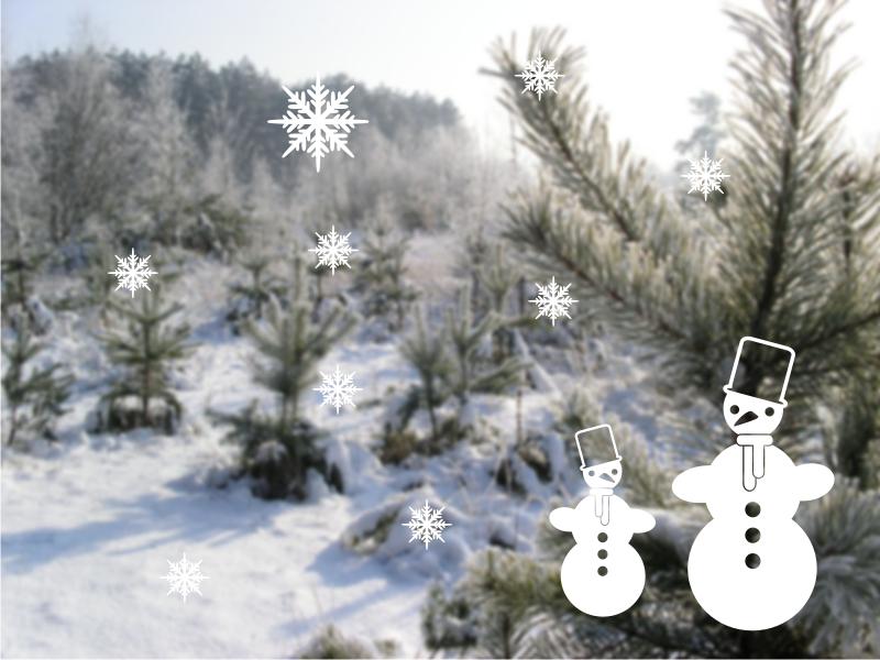 Vánoční samolepky na okno Sněhuláci s vločkami