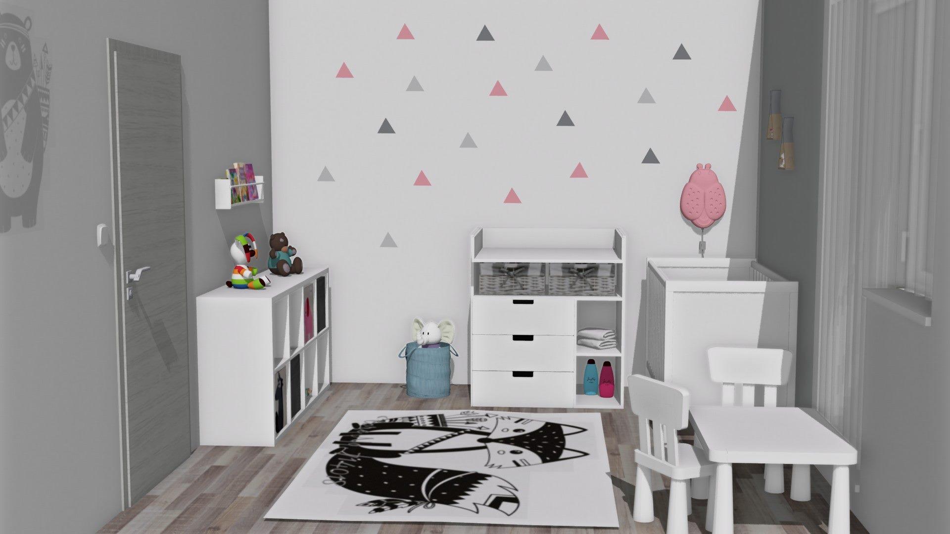 Dětský pokoj pro batole s trojúhelníky