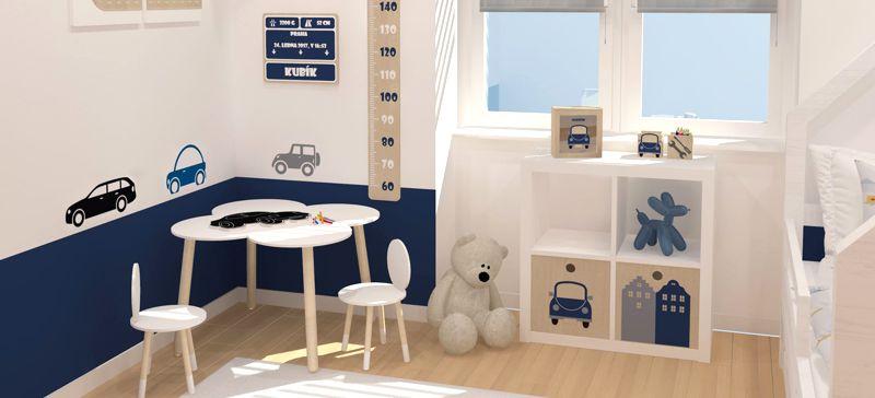 Modrý skandinávský dětský pokoj