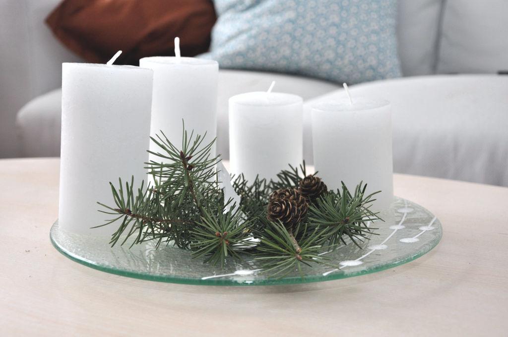 Adventní svícen na talíři BDK Glass
