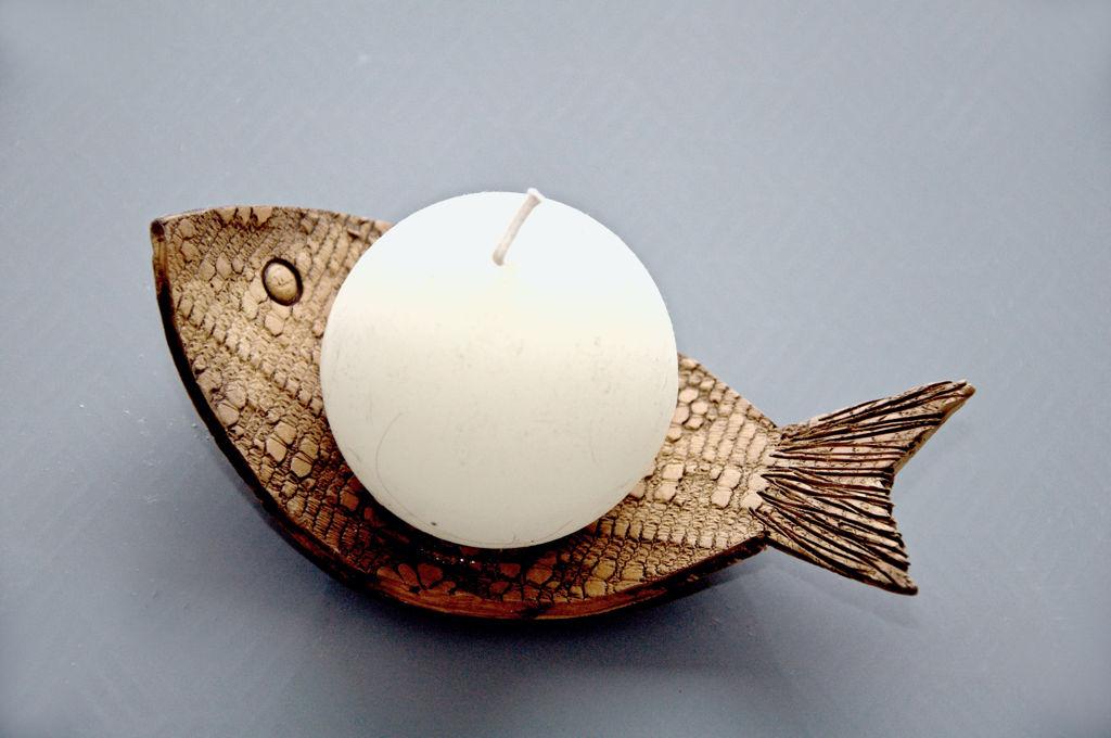 keramický svícen rybička