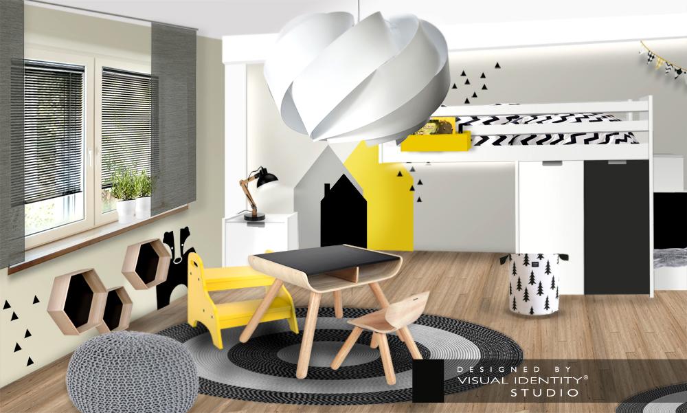 Dětský pokoj žlutá, šedá černá
