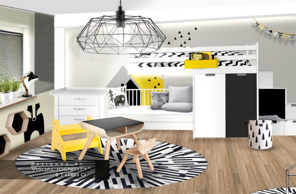 Dětský pokoj žlutá, šedá, černá