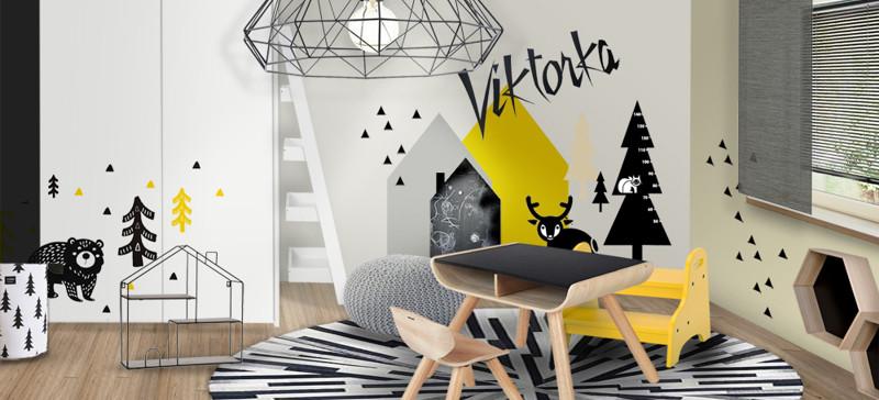 Nadčasový dětský pokoj ve žluté, šedé a černé
