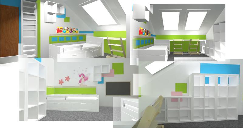 3d návrh pokojíku pro dvě děti v podkroví a s knihovnou až do stropu