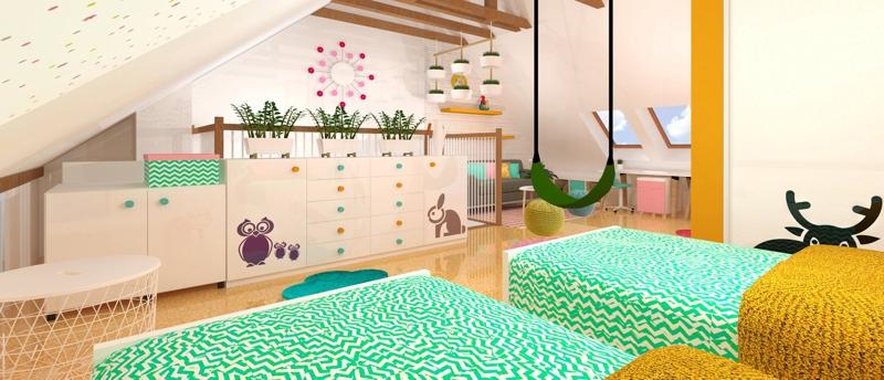 Podkrovní dětský pokoj v pastelových barvách s našimi lesními zvířátky