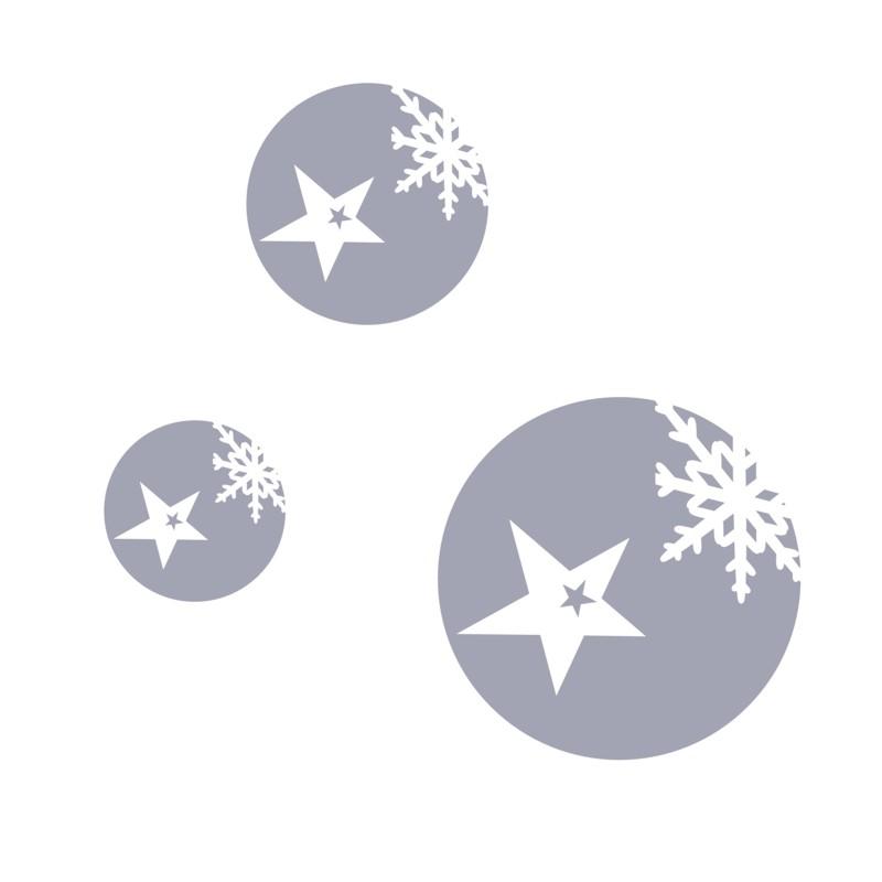 Vánoční samolepka na okno Koule s vločkou a hvězdou