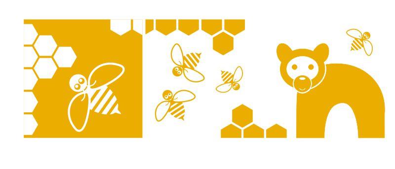 Medvídek, včelky a šestiúhelníky aneb medová kolekce pro dětský pokoj